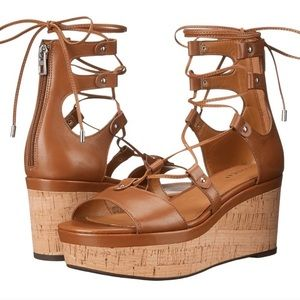 NWT COACH Barkley Lace Up Wedge Sandals, 6.5